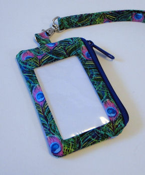 Peacock Feather I D Wallet Lanyard-lanyard, peacock feathers, coin purse, wallet, I D window, vinyl window, badge holder
