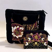Hannah Gold Floral Bag-purple floral bag, gold metallic, gold floral bag, quilted crossbody womans bag, crossbody strap bag, minimalist bag, floral purse, black purse, black bag, crossbody strap purse, festival bag, purple purse, coin purse