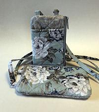 Aqua Floral I D Phone Wallet-