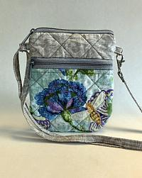 Floral Bee Cell Phone Bag-quilted crossbody bag, small phone bag, small purse, crossbody bag for women, girls bag, floral purse, bee purse, appliqued bag, gray purse, crossbody gray purse, crossbody gray bag, womans purse, womans tote