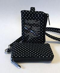 Black White Dotted ID Wallet Lanyard-