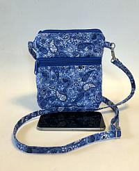 Blue Paisley Cell Phone Bag-cell phone bag, zipped bag, blue, paisley, cotton, crossbody strap, quilted bag, crossbody quilted bag for women, bum bag, festival bag, waist bag, handmade purse, blue purse