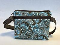 Aqua Conceal Carry Fanny Pack-fanny pack, conceal carry bag, aqua, cotton, handmade fanny pack, paisley, womans purse, waist bag, festival bag, bum bag, fabric fanny pack, zipped bag, zipped fanny pack