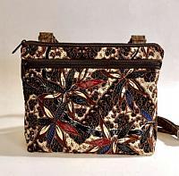 Conceal Carry Brown Batik Bag-conceal carry purse, gun purse, gun bag, womans gun bag, crossbody conceal carry bag, batik purse, brown purse, medium womans bag, medium gun purse, quilted womans purse, quilted conceal carry bag, quilted tote, conceal carry tote