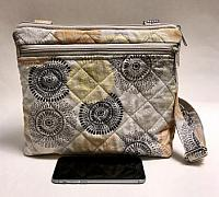 Conceal Carry Tan Crossbody Bag-conceal carry bag, crossbody strap, cotton purse, quilted bag, gray bag, gray gold purse, crossbody strap quilted bag for women, womans bag, gun bag, purse for guns, bag for guns, tote for guns, quilted tote