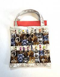 Coloring Book and Crayon Bag-Cat Breeds-coloring book bag, crayon bag, childs bag, art bag, quilted bag, cat bag for children, travel bag for children, car art bag, gift bag for children, girls bag, boys bag, crayon bag for girls, crayon bag for boys