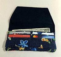 Embroidered Denim Woman's Wallet-womans wallet, embroidered denim, slim wallet, minimalist wallet, navy, denim wallet, credit card slip wallet, cash bill pocket wallet, floral fabric wallet, fabric wallet, navy denim wallet, womans floral wallet, wallet for women