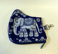 Blue Elephant Mask Case-mask case, elephant, Indonesian batik, mask holder