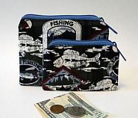 Fishing Coin Purses-fishing coin purse, mans coin purse, boating, boating coin purse, credit card wallet, cash wallet, fabric coin purse, blue wallet, blue coin purse, gift for men, green coin purse, gift for boys, boys coin purse