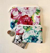 Floral Coin Purses-floral coin purse, blossom purse, jewelry purse, money bag, credit card wallet, money purse, money wallet, flower coin purse, fabric coin purse, coin pouch, white purse, floral pouch, floral wallet
