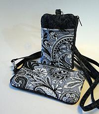 Gray Paisley I D Phone Wallet-phone wallet, small purse, paisley, gray, cell phone purse, womans purse, crossbody purse, fabric wallet, quilted wallet, I D window, vinyl window