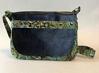 Green Peacock Messenger Bag-messenger bag, leather messenger bag, peacock fabric, peacock bag, crossbody bag for women, womans crossbody bag, quilted bag for women, quilted purse, quilted crossbody  purse, medium green bag, medium bag, womans medium purse, peacock purse