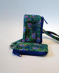 Peacock Feather I D Wallet Lanyard-lanyard, peacock feathers, coin purse, wallet, I D window, vinyl window, badge holder