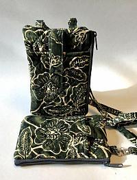 Green Batik ID Phone Wallet-phone wallet, crossbody strap, batik, green, ID window, cash wallet, vinyl ID window wallet, handmade phone purse, green purse, adjustable strap bag women, green bag, crossbody tote bag, floral fabric purse