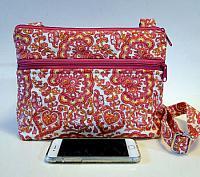 Pink Paisley Crossbody Bag-pink womans bag, pink paisley purse, womans medium bag, medium purse, paisley fabric, quilted crossbody womans bag, crossbody womans purse, zipped bag, zipped medium bag, pink zipped bag, zipped purse, pink zipped purse, pink womans purse