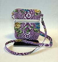 Purple Cell Phone Bag-cell phone bag, festival bag, zipped bag, crossbody strap, purple, floral, quilted crossbody purse for women, bum bag, waist bag, womans purse, womans bag, handmade purse, womans crossbody tote