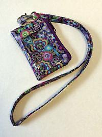 Purple ID Wallet Lanyard-lanyard, floral, Laurel Burch, fabric, ID window, cash purse, credit card purse, vinyl ID window wallet, fabric lanyard, thin lanyard, minimalist bag, floral wallet, small wallet, small purse, credit card wallet