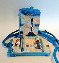 Lighthouse I D Phone Wallet-I D phone wallet for women, quilted handmade, phone case, crossbody strap, zipped bag, womans bag