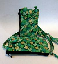 Shamrock Phone Wallet-shamrock phone wallet, Irish phone wallet, zipped purse, zipped wallet, phone wallet lanyard, green phone wallet, wallet ID window, quilted phone wallet, crossbody strap phone wallet, zipped bag, shamrock bag, green bag